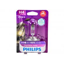 Лампа галогенная CityVision Moto +40% H4 12V 60/55W PHILIPS / 12342CTVBW