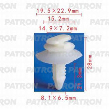 Клипса пластмассовая PATRON Chevrolet, Chrysler, Daewoo, Ford, GM, Opel / P37-0713