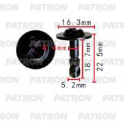 Штифт крепежный PATRON (упаковка 100шт) поворотный (черный) AUDI, SEAT, SKODA, VW / P37-2325A