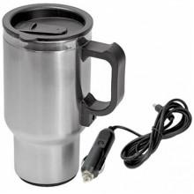 Термокружка (чайник автомобильный) с подогревом, нержавейка/пластик, 450 мл, 12V/24W AIRLINE / ABK-12-10