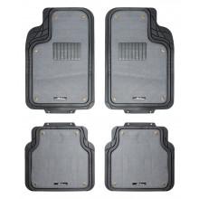 Ковры полимерные с отстегивающимся ковролином AIRLINE в салон автомобиля универсальные, цвет - серый/черный, комплект из 4х ковров / ACM-RCM-04