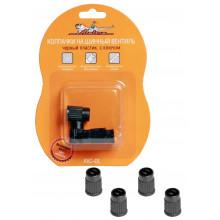 Колпачки на шинный вентиль с ключом, черные, пластик, 4 шт. / AVC-01