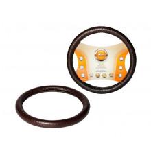 Оплетка на руль AIRLINE, искусственная кожа с тиснением, коричневая, 38 см / M / AWC-SL-04M